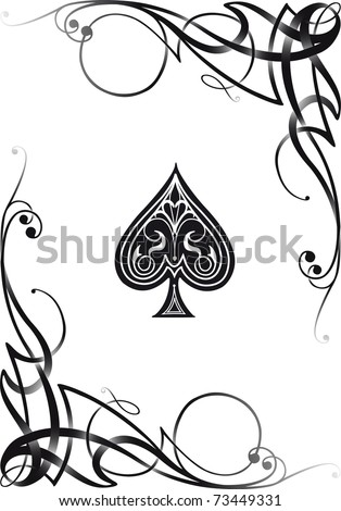 Decorative Ace Card, VECTOR RE-SIZABLE. - stock vector