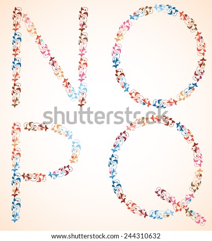 Decorative alphabet, capital letters N O P Q, made of multicolor branches with spirals and leaves. Vector set. - stock vector