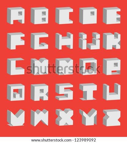 Decorative Alphabet. Square base./ Scope Alphabet - stock vector