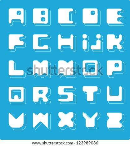 Decorative Alphabet. Square base./ White Alphabet - stock vector