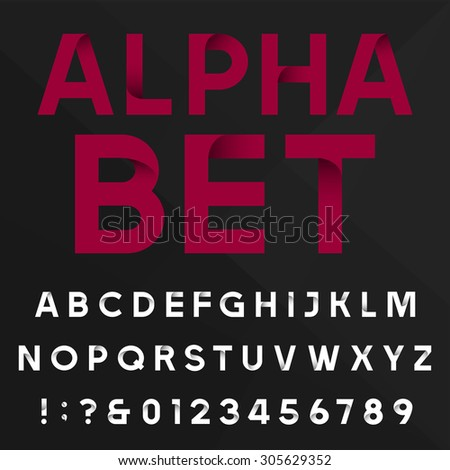 Decorative alphabet vector font. Sans serif type letters, numbers and symbols on a dark  background. Stock vector typography for headlines, posters etc. Easy color change. - stock vector