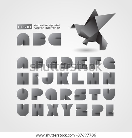 Decorative Alphabet With Origami Object - stock vector
