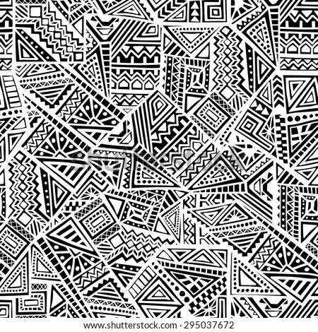 Decorative Ancient Hand Drawn Ethnic Seamless Pattern - stock vector