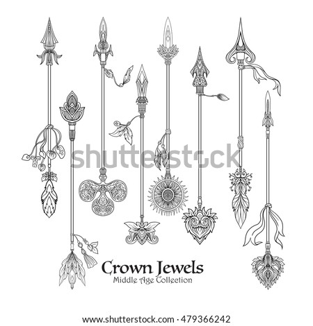 Decorative arrows in victorian renaissance, baroque, royal style. Vector illustration. Coloring book for adult and older children. Outline drawing coloring page. Outline drawing.