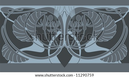 Decorative Art Nouveau perfect seamless tiling border featuring wings.