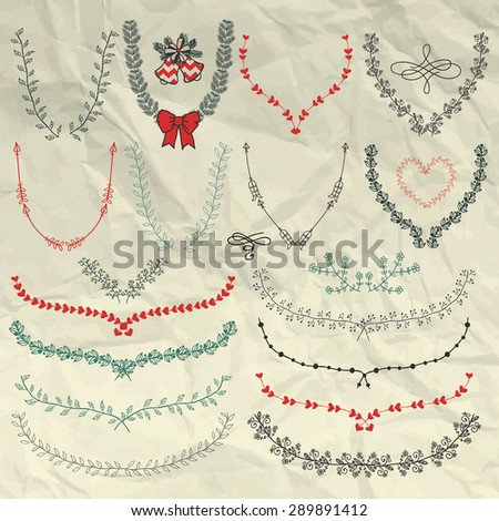 Decorative Artistic Colorful Hand Sketched Doodle Floral Wreaths, Laurels, Branches on Crumpled Paper Texture. Design Elements. Pen Drawing. Vector Illustration - stock vector