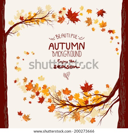 Decorative autumn background with flying maple leaves. Space for text - stock vector