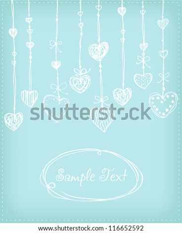 Decorative background with hand drawn tender white hearts. Template for design greeting card with illustration and text frame - stock vector
