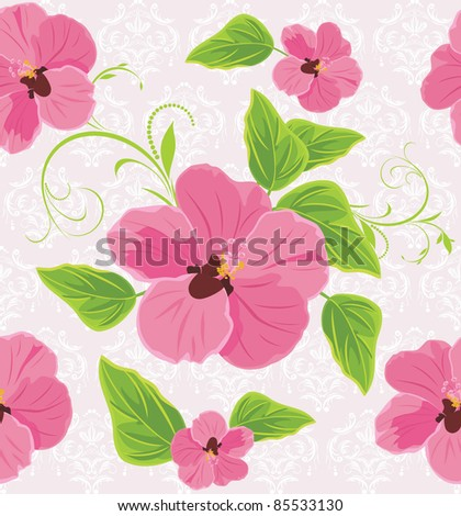Decorative background with pink flowers. Vector - stock vector