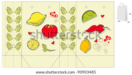 Decorative bag with vegetable and fruit