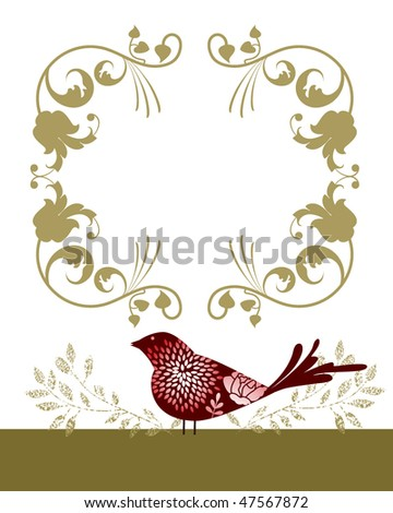Decorative bird and frame (remove clip mask on birds for full flowers) - stock vector