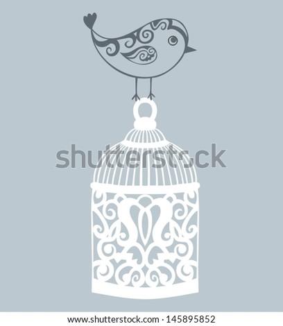 Decorative bird cage. - stock vector