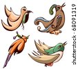 decorative birds vector set - stock vector