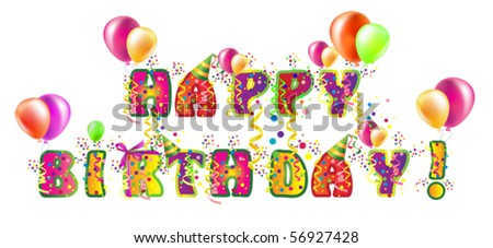Decorative birthday text for design with balloons - stock vector