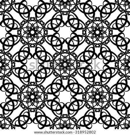 Decorative black-and-white seamless pattern. Abstract pattern with stylized floral elements. - stock vector