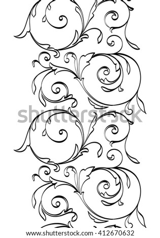 Decorative black floral ornament isolated on white background. Vertical contour ornamental pattern with stylized leaves and curve lines. Black contour pattern on white background.  - stock vector