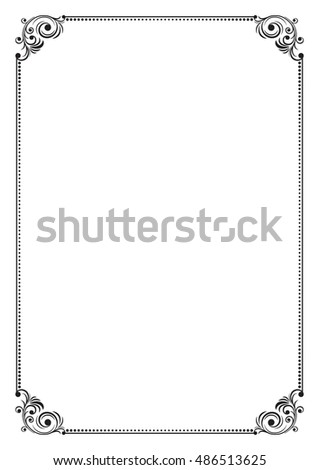 Decorative Black Frame A 4 Size Stock Vector 486513625 - Shutterstock