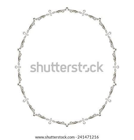 Decorative black frame for mirror. Vector - stock vector