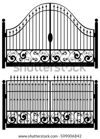 Decorative black silhouette of iron fence with gate.