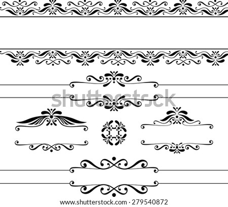 decorative blank banners and vintage design elements isolated on white background - stock vector