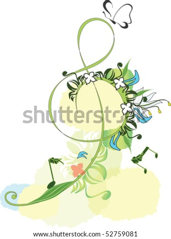 Decorative blossom treble clef - stock vector