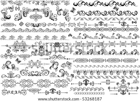 Decorative border and design elements - stock vector