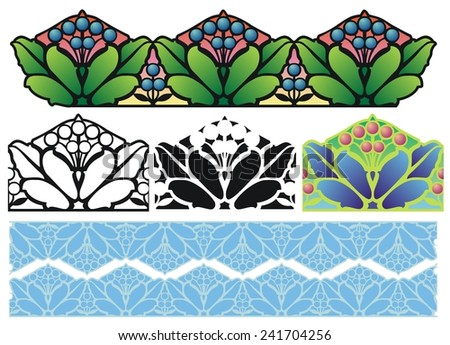 Decorative border design with variations - stock vector