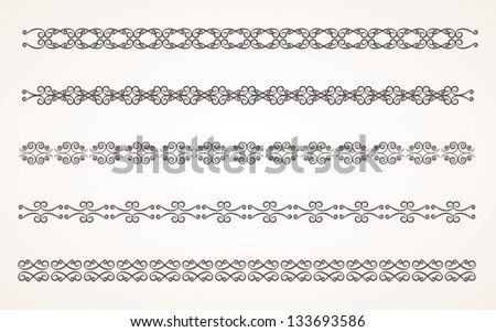 Decorative border elements for design Vector Illustration set 3