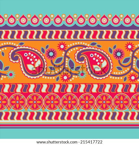 Decorative border in ethnic style - stock vector