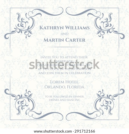 Decorative borders and seamless classic pattern. Template for greeting cards, invitations, menus, labels. Graphic design page. Wedding invitation.  - stock vector