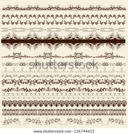 Decorative  borders for your  design. Calligraphic vector - stock vector