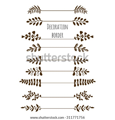 Decorative borders. Hand drawn vintage border set with leaves, branches. Vector  - stock vector