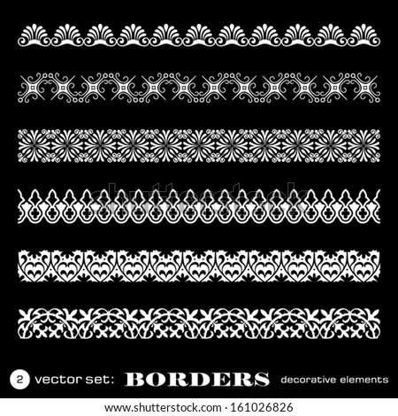 Decorative borders isolated on black background - set 2