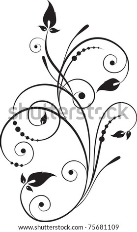 decorative branch - element for design in vintage style - stock vector