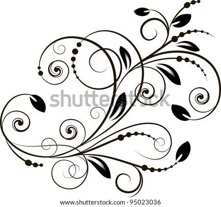 decorative branch in vintage styled for design - stock vector