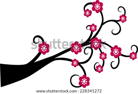Decorative Branch Tree Silhouette With Red Flower - stock vector