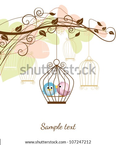 decorative branches with a birds in a cage - stock vector