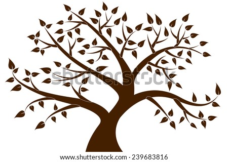 Decorative Brown Tree Silhouette - stock vector