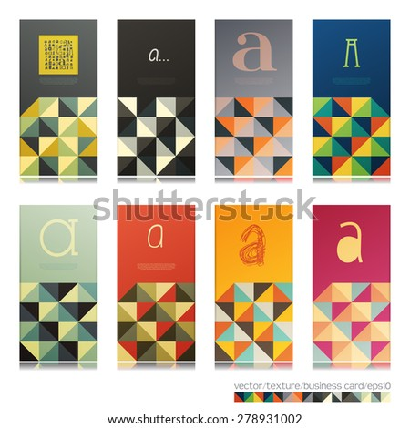 Decorative business card with alphabet element and geometric shapes. Vector illustration - stock vector