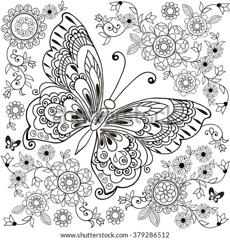 Decorative butterfly with floral ornament for anti Stresa Coloring. - stock vector