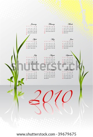 Decorative calendar for 2010 in English
