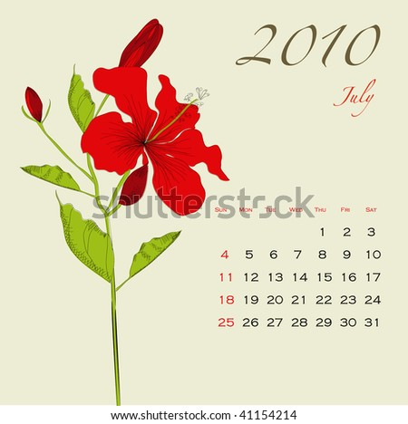 Decorative calendar for 2010 with flowers (July)