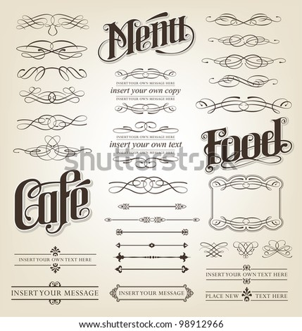 Decorative calligraphic design set - menu, cafe, food vector illustration - stock vector