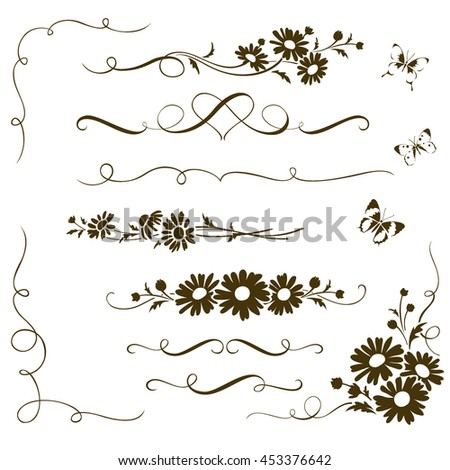 Decorative calligraphic elements with wild chamomile flowers. Floral ornaments and butterfly silhouettes for page decor - stock vector