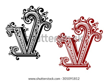 Decorative capital letter V with vintage calligraphic elements and floral ornamental curlicues, in red and black color variations. For monogram or initials design - stock vector