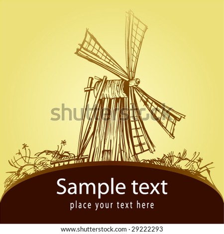 Decorative card with old mill - stock vector