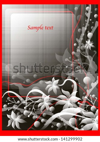 decorative card with white flowers on a black background - stock vector