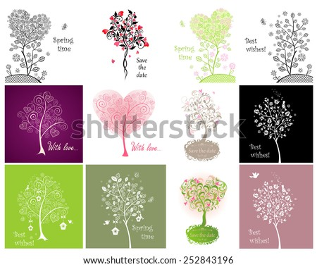 Decorative cards with beautiful tree - stock vector