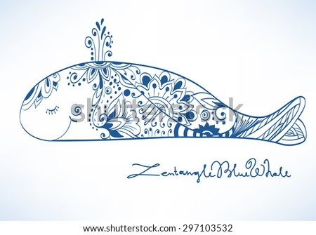 Decorative cartoon blue whale with fantasy pattern - stock vector