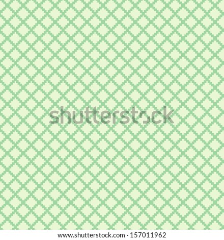 Decorative checkered monochrome pattern. Green seamless background - stock vector